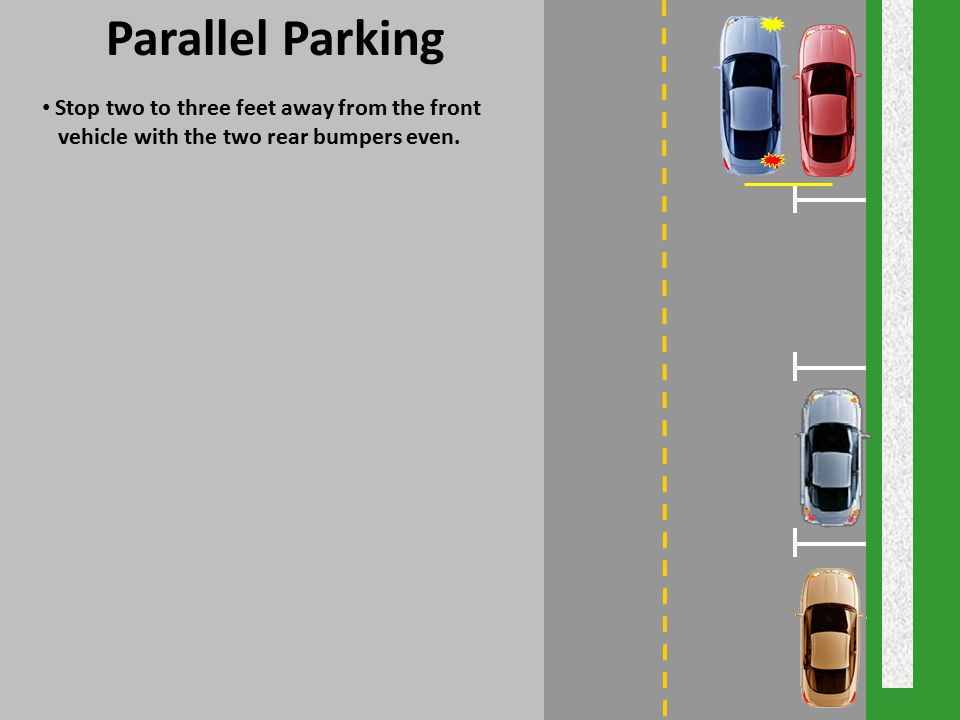 Parallel Parking Stop two to three feet away from the front