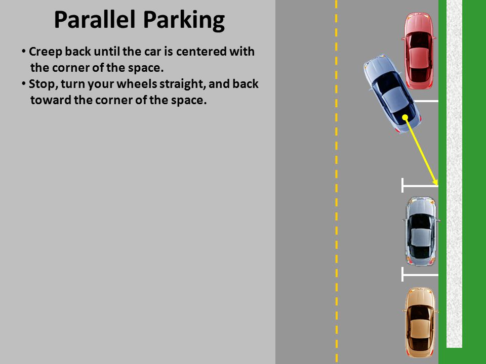 Parallel Parking Creep back until the car is centered with