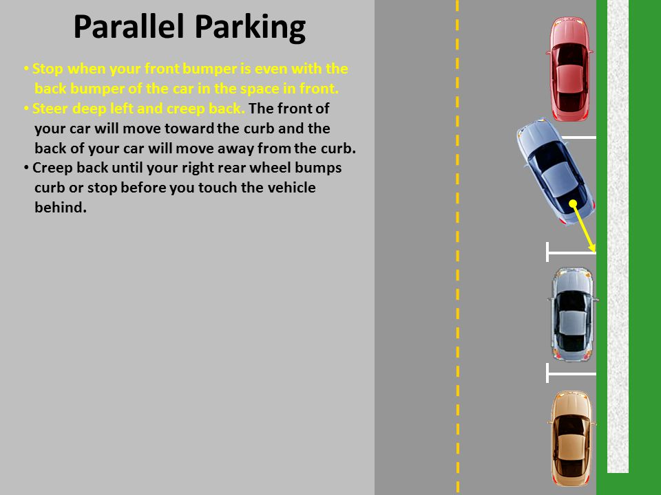 Parallel Parking Stop when your front bumper is even with the