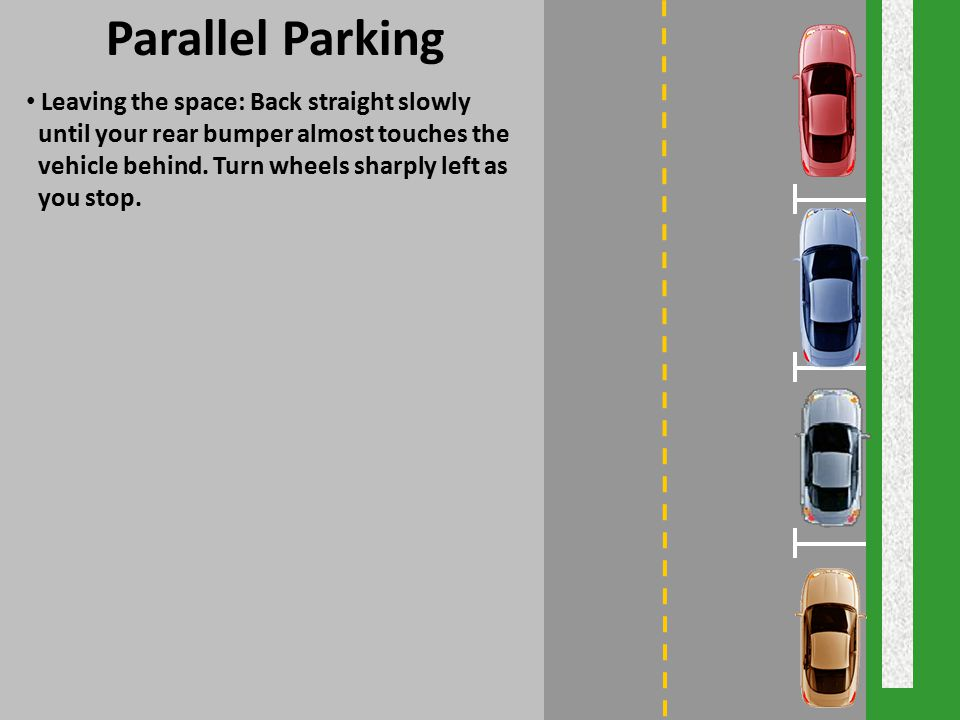 Parallel Parking Leaving the space: Back straight slowly
