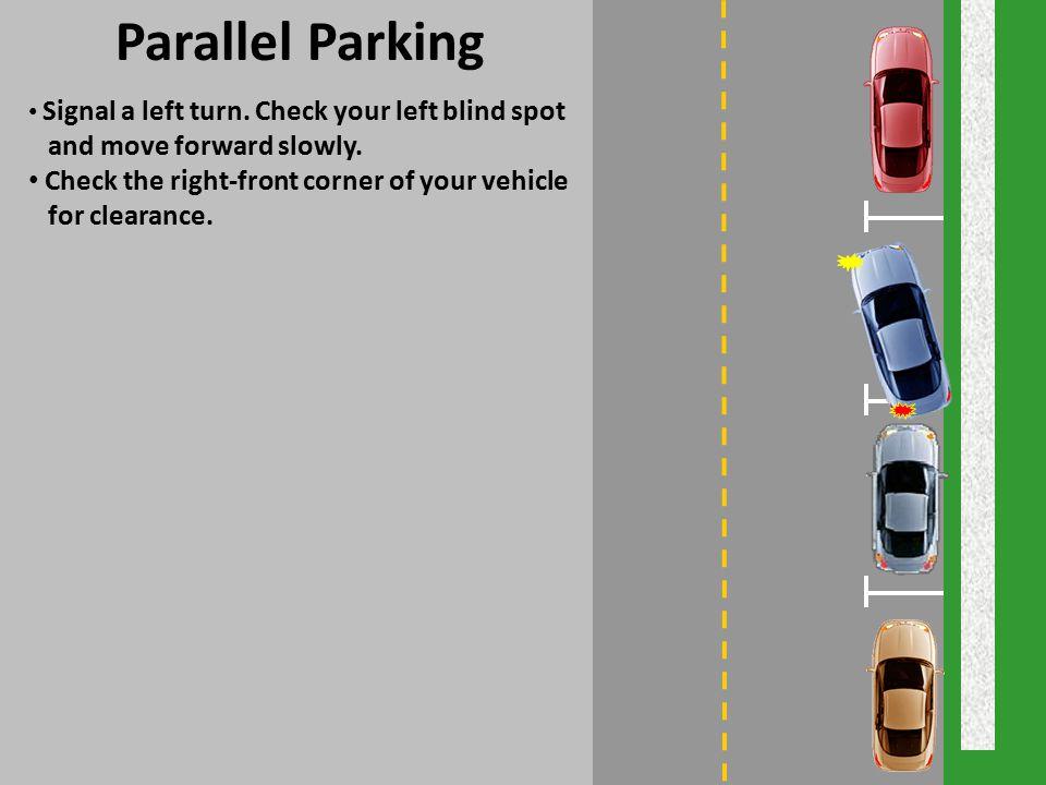 Parallel Parking and move forward slowly.