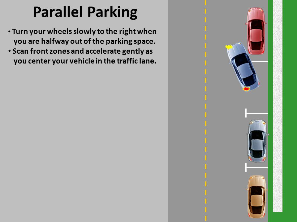 Parallel Parking you are halfway out of the parking space.