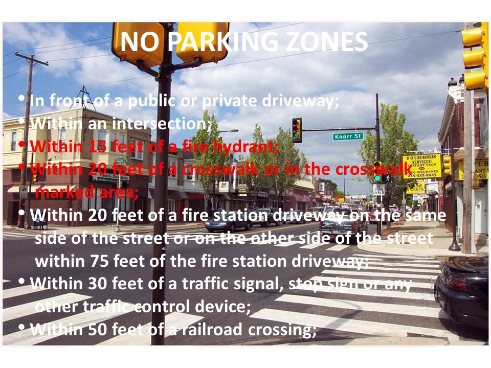NO PARKING ZONES In front of a public or private driveway;