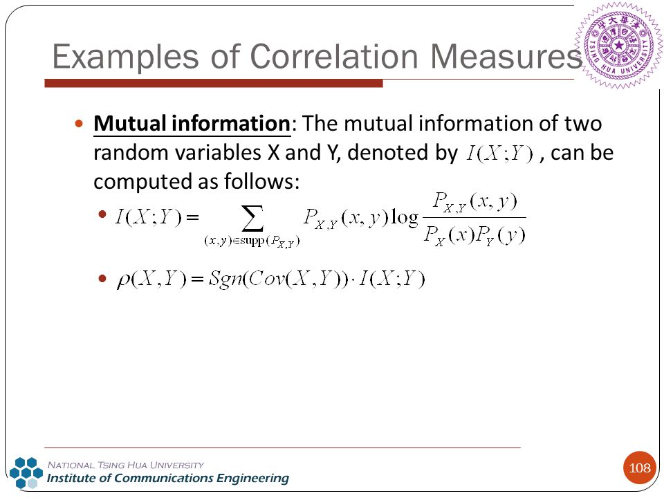 Examples of Correlation Measures