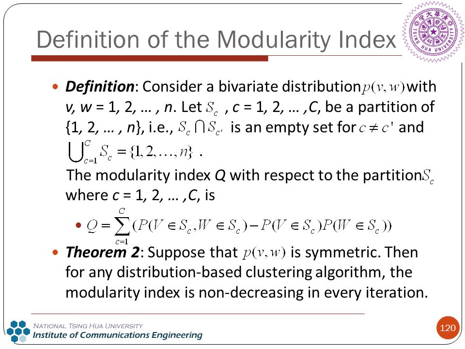 Definition of the Modularity Index