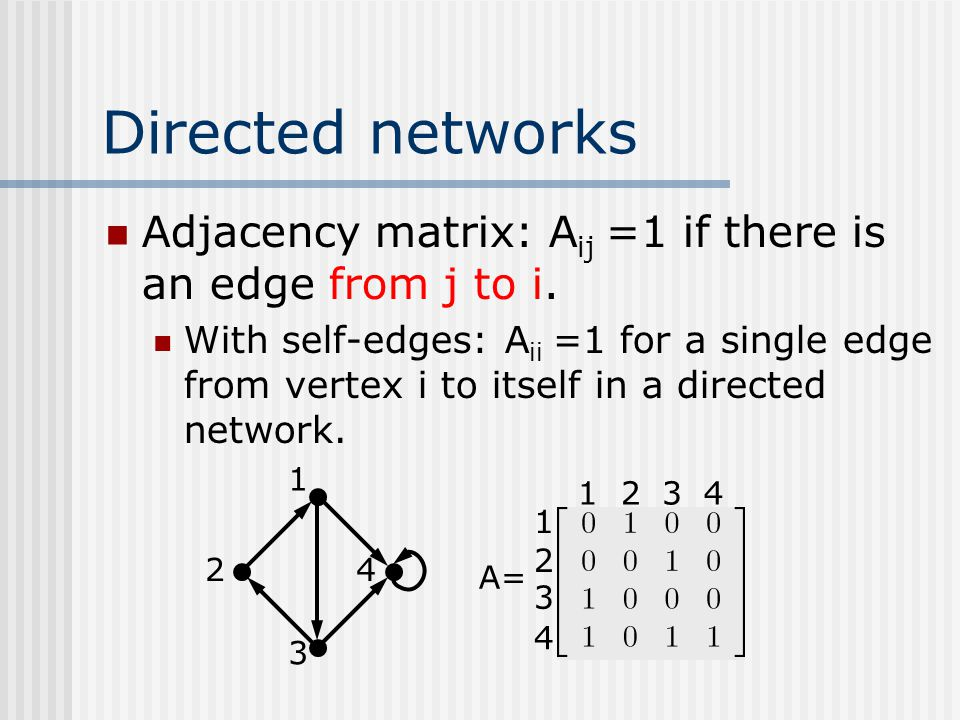 Directed networks Adjacency matrix: Aij =1 if there is an edge from j to i.