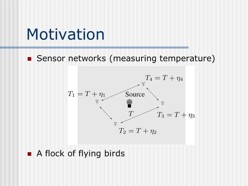 Motivation Sensor networks (measuring temperature)