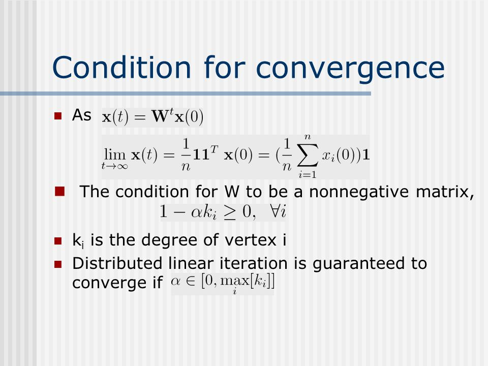 Condition for convergence