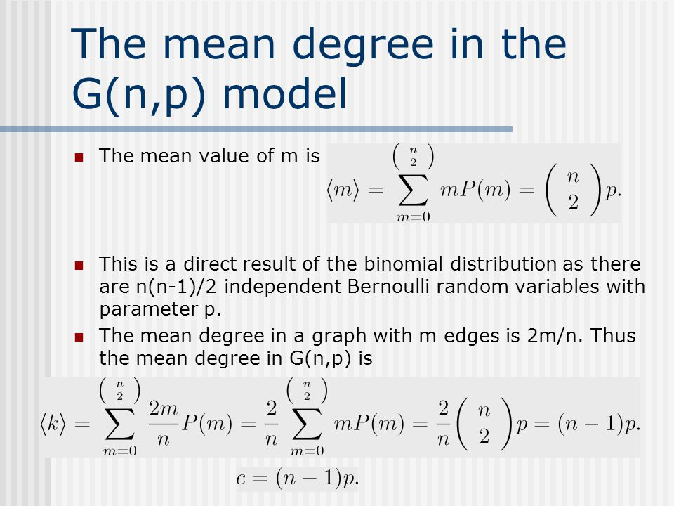 The mean degree in the G(n,p) model