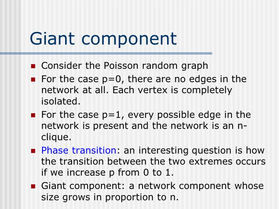 Giant component Consider the Poisson random graph