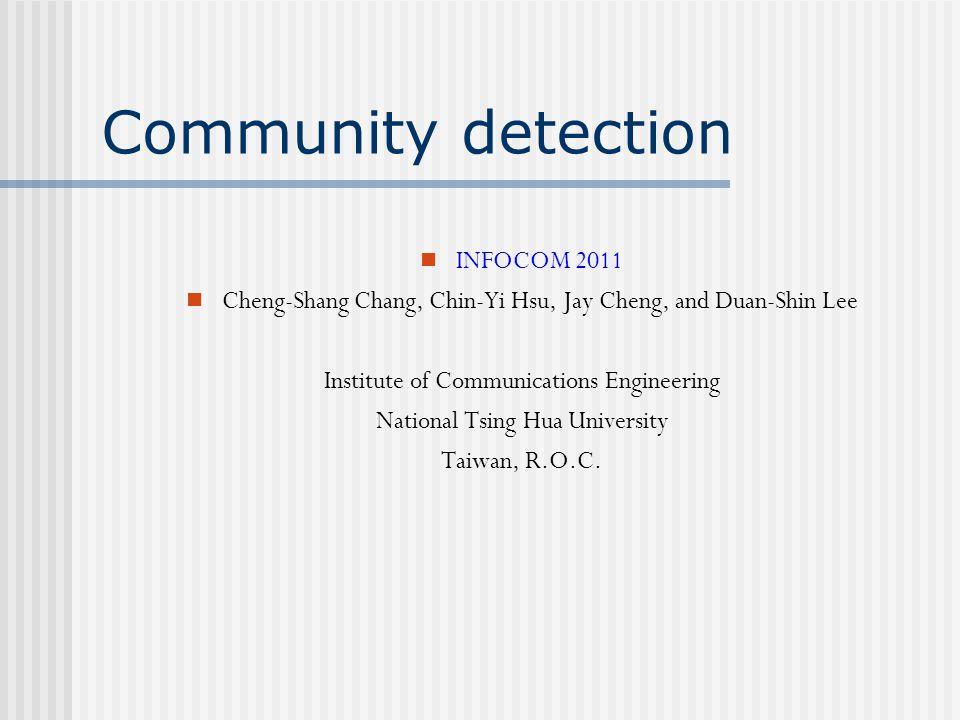 Community detection INFOCOM 2011
