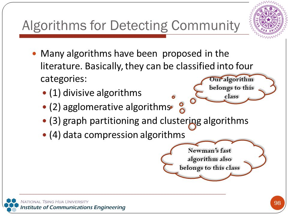 Algorithms for Detecting Community