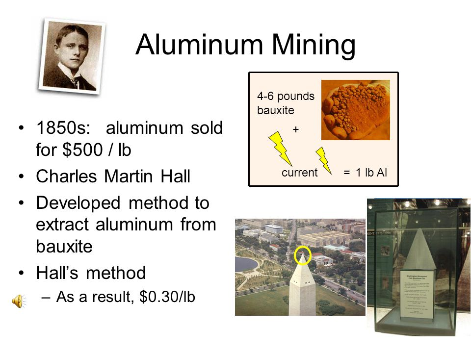 Aluminum Mining 1850s: aluminum sold for $500 / lb Charles Martin Hall