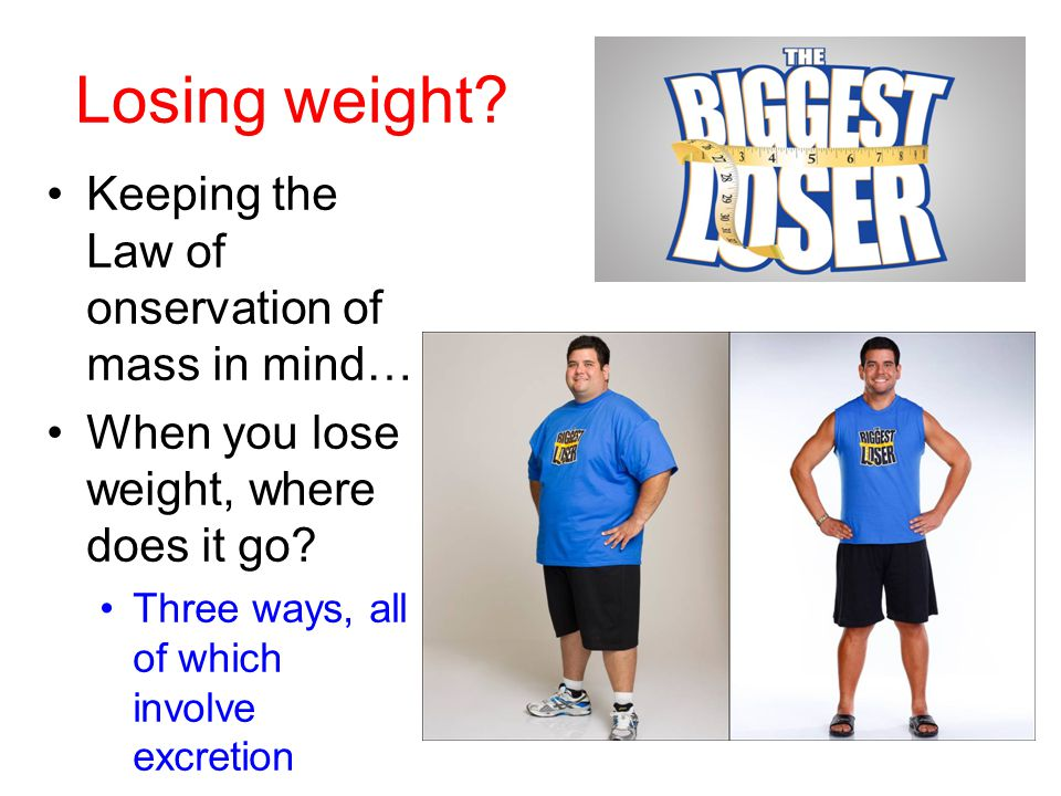 Losing weight Keeping the Law of onservation of mass in mind…