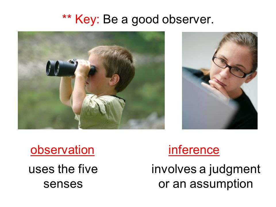 ** Key: Be a good observer.