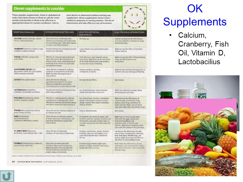 OK Supplements Calcium, Cranberry, Fish Oil, Vitamin D, Lactobacilius