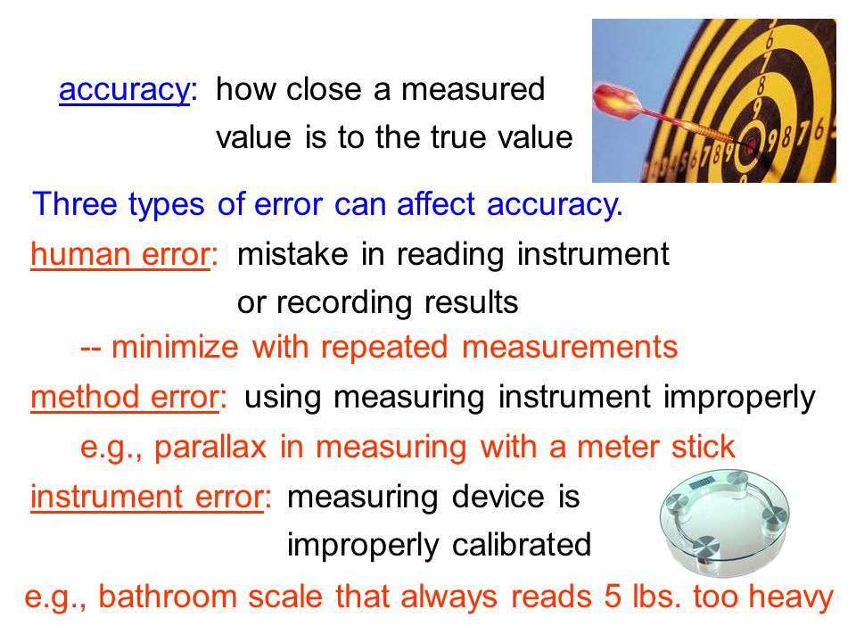 Three types of error can affect accuracy.