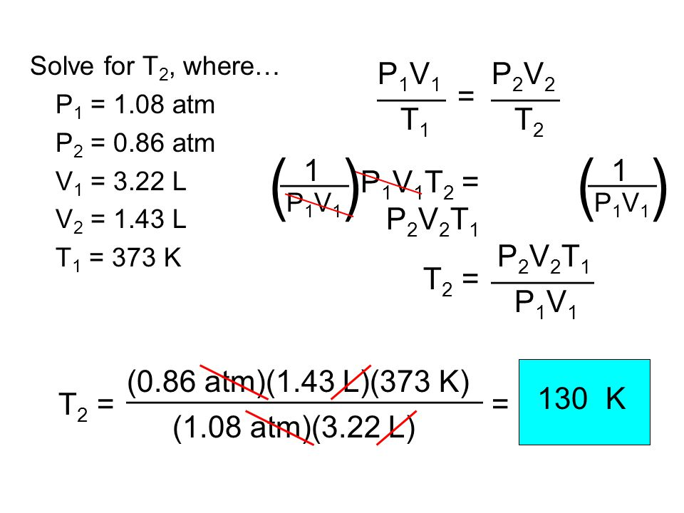 ( ) ____ T1 P1V1 = P2V2 T2 1 ____ P1V1T2 = P2V2T1 T2 = P1V1 ______