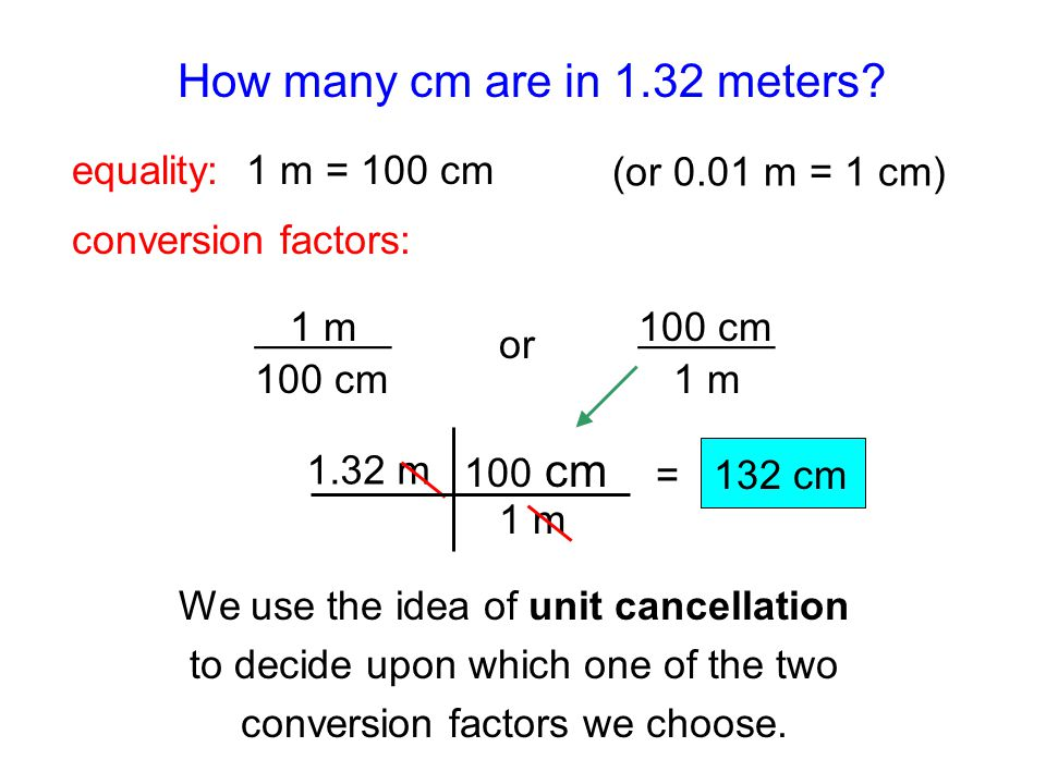 How many cm are in 1.32 meters