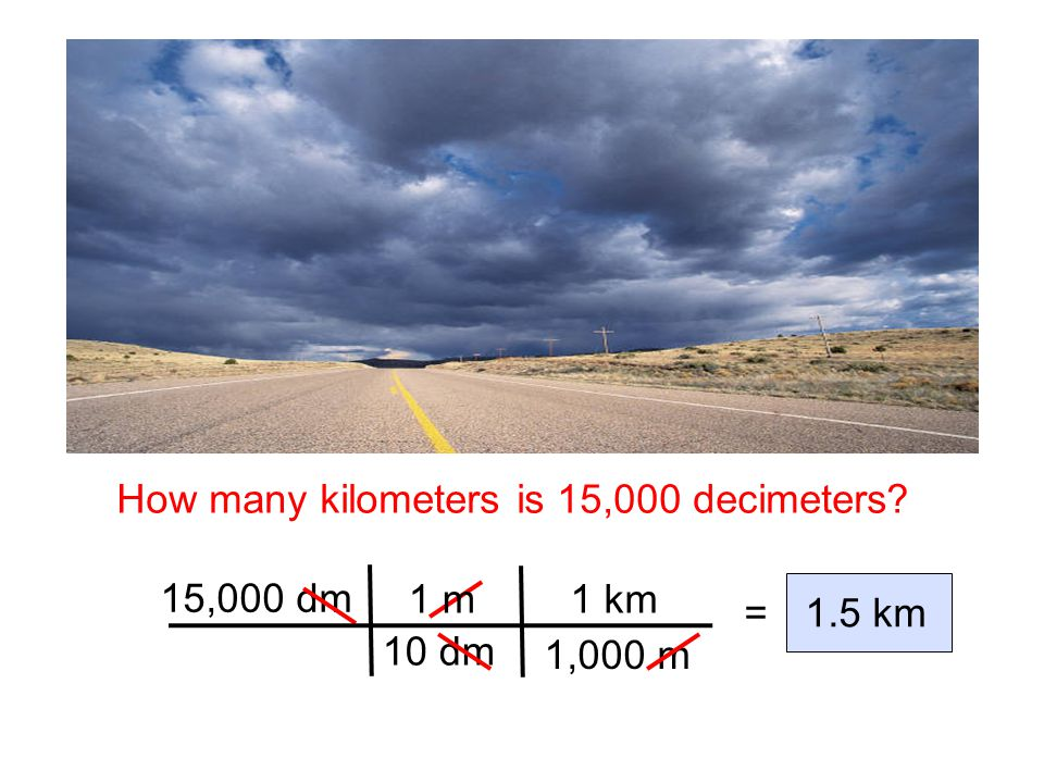 How many kilometers is 15,000 decimeters