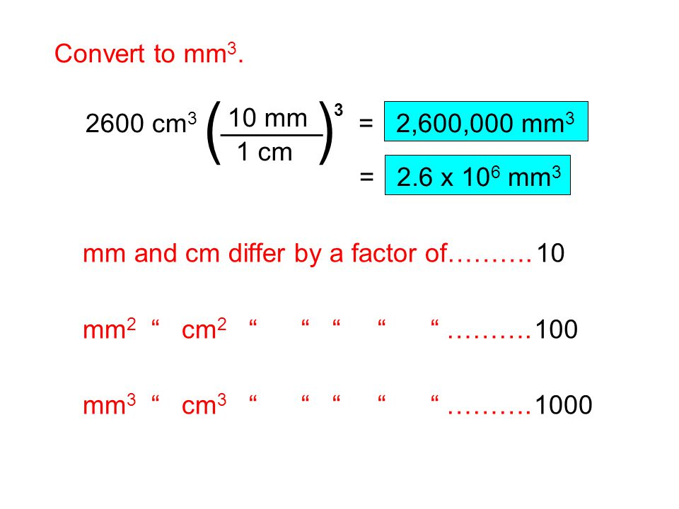 ( ) ______ Convert to mm3. 1 cm 10 mm 2600 cm3 3 = 2,600,000 mm3
