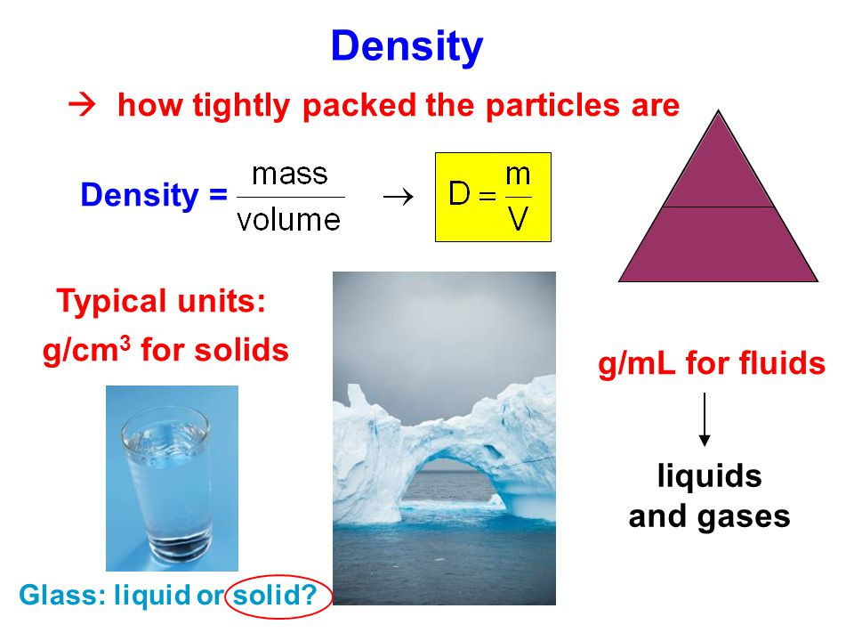 Density  how tightly packed the particles are m V D Density =