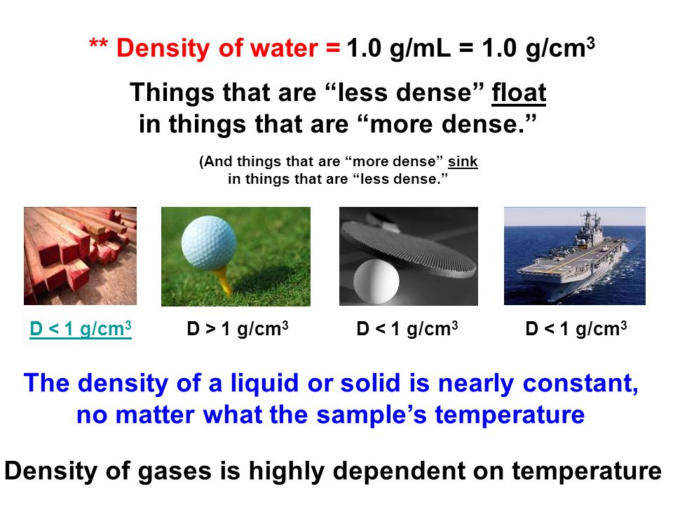 Things that are less dense float in things that are more dense.