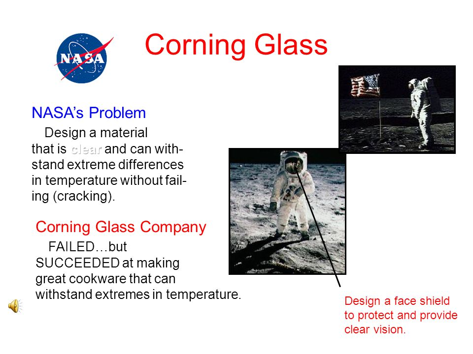 Corning Glass NASA's Problem Design a material Corning Glass Company