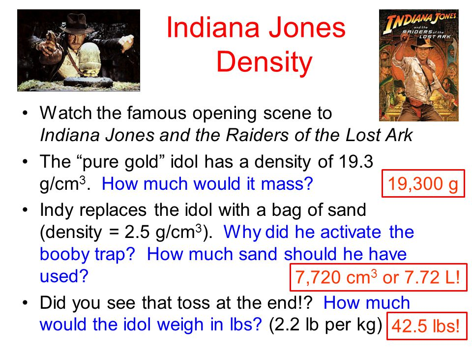 Indiana Jones Density Watch the famous opening scene to Indiana Jones and the Raiders of the Lost Ark.