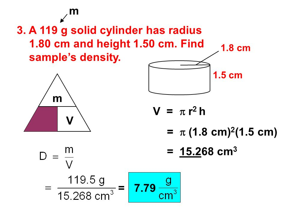 3. A 119 g solid cylinder has radius 1.80 cm and height 1.50 cm. Find