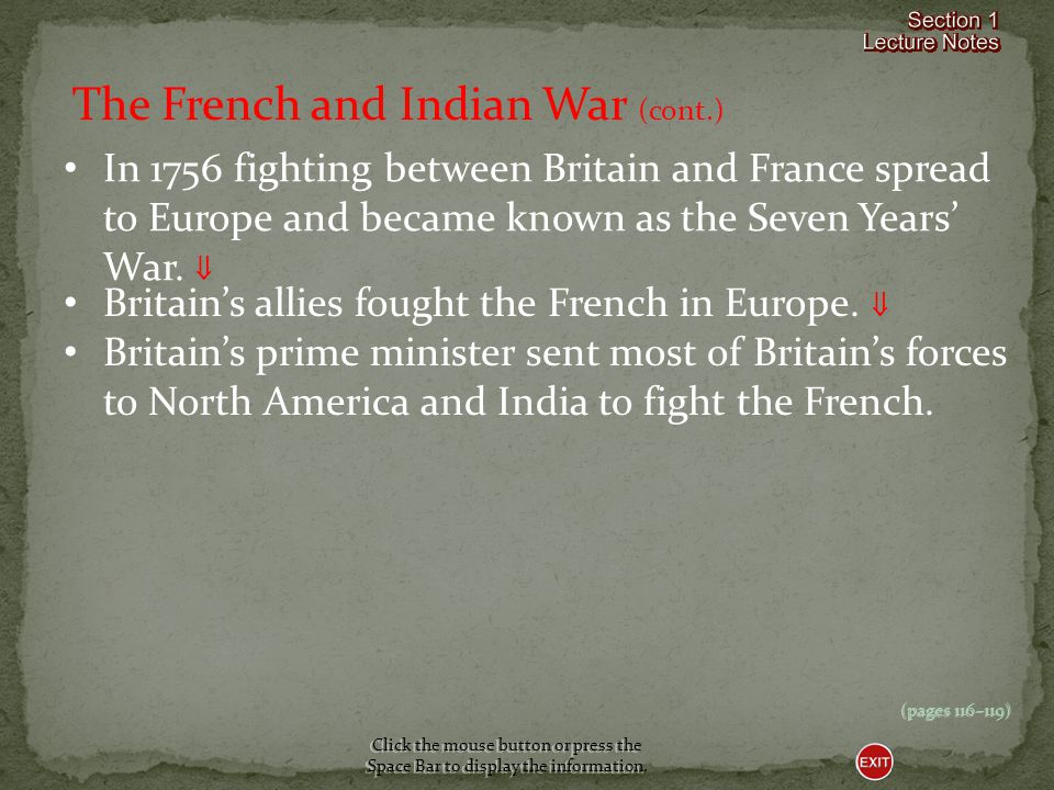 The French and Indian War (cont.)