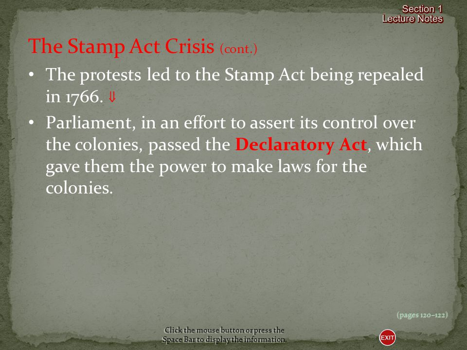 The Stamp Act Crisis (cont.)