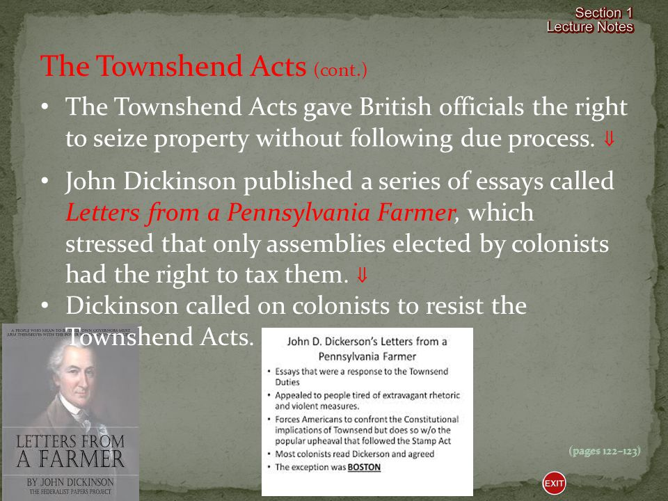 The Townshend Acts (cont.)