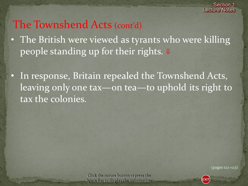 The Townshend Acts (cont'd)
