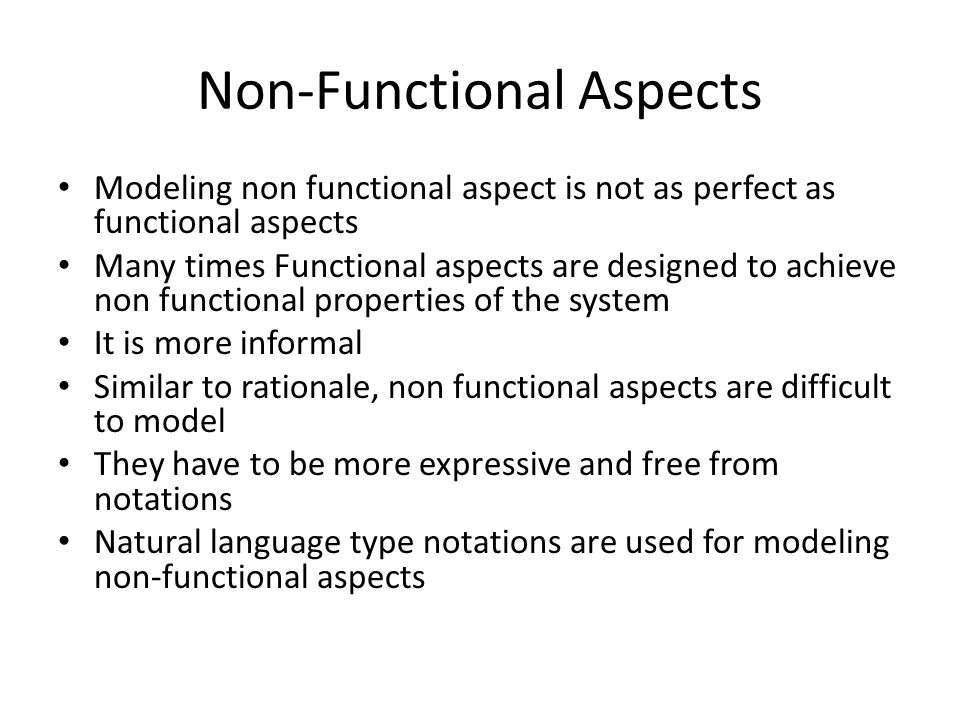 Non-Functional Aspects