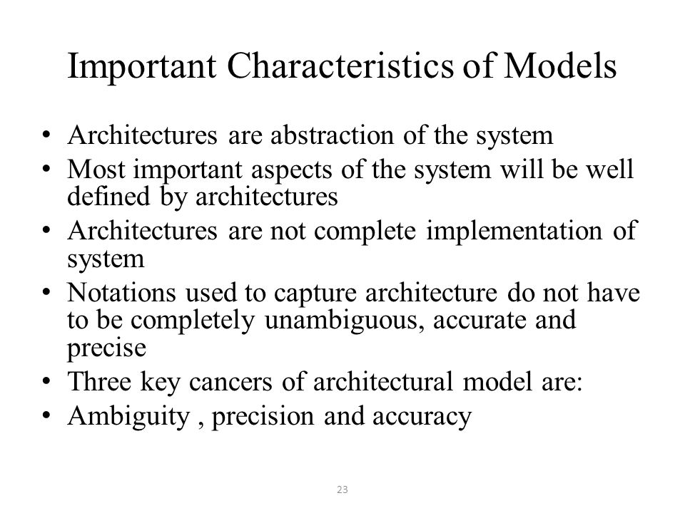 Important Characteristics of Models