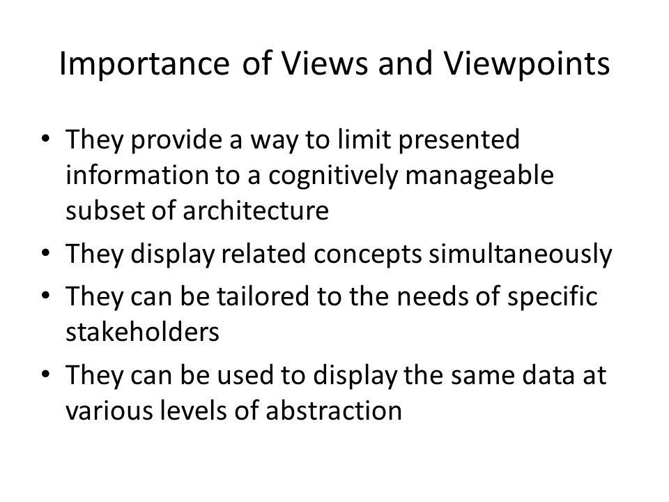 Importance of Views and Viewpoints