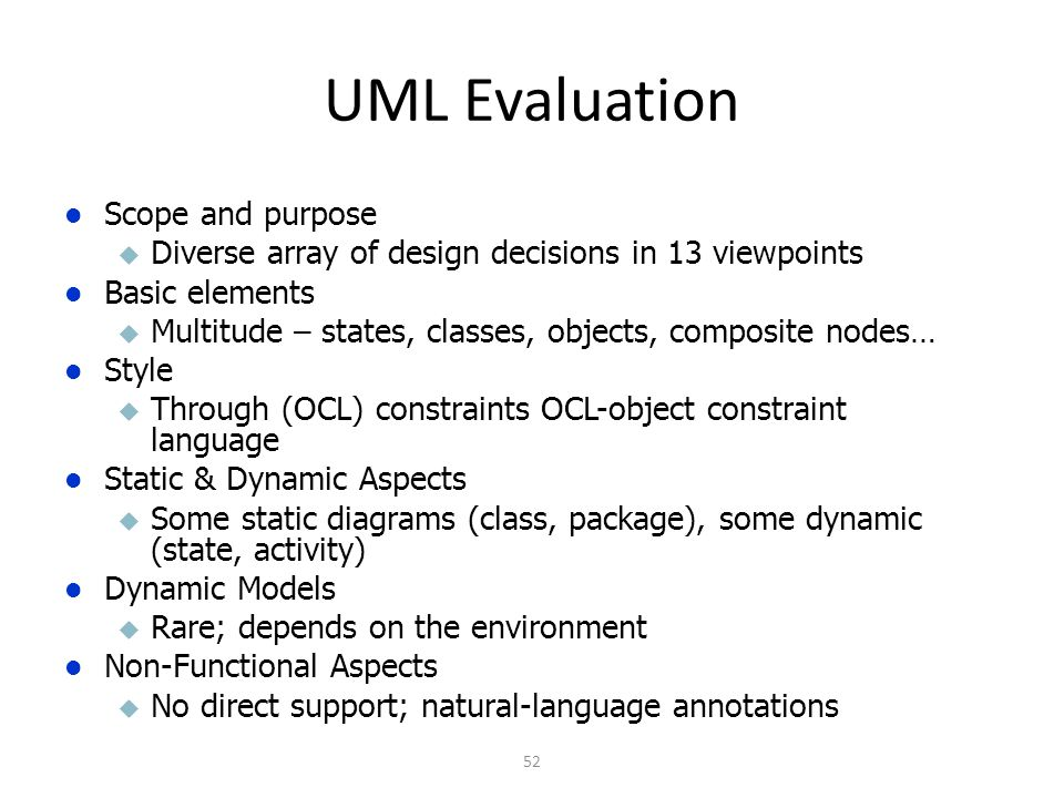 UML Evaluation Scope and purpose