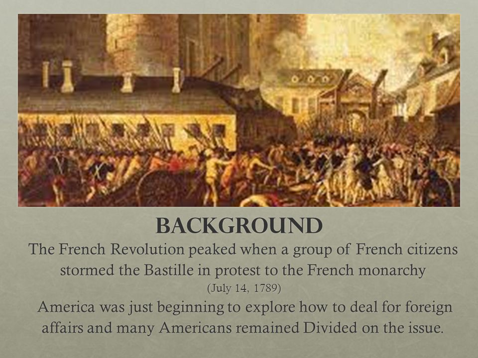 Background The French Revolution peaked when a group of French citizens stormed the Bastille in protest to the French monarchy.