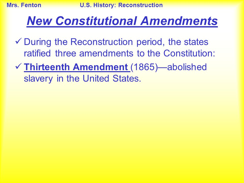 New Constitutional Amendments