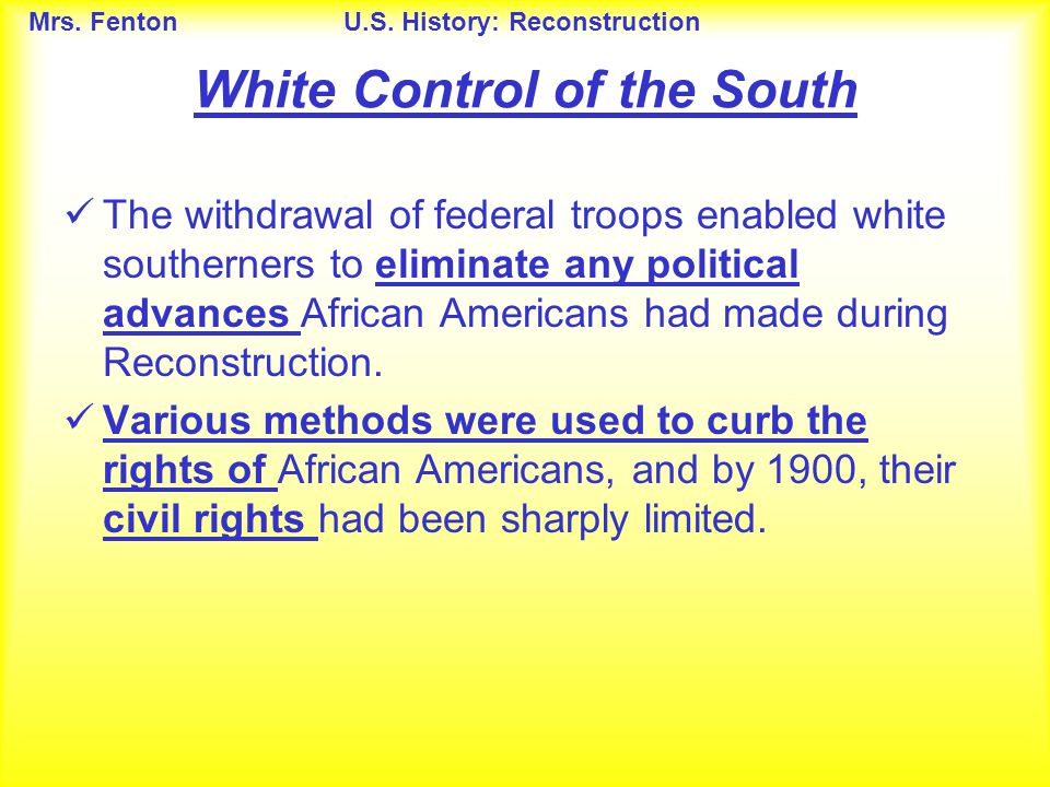 White Control of the South