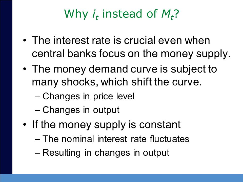 Why it instead of Mt The interest rate is crucial even when central banks focus on the money supply.