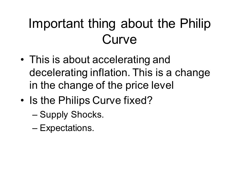 Important thing about the Philip Curve