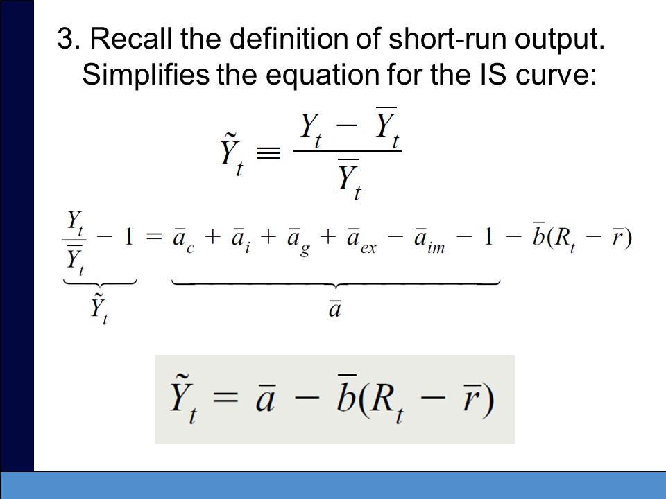 3. Recall the definition of short-run output