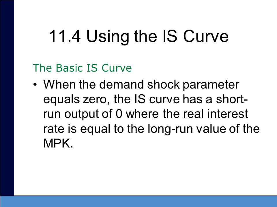 11.4 Using the IS Curve The Basic IS Curve.