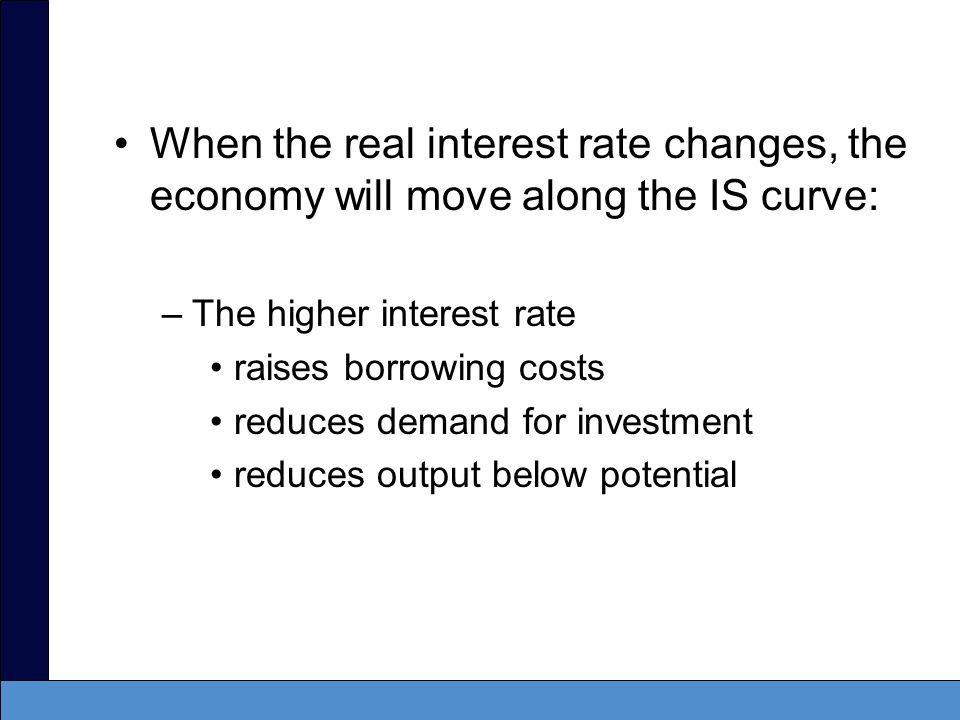 When the real interest rate changes, the economy will move along the IS curve: