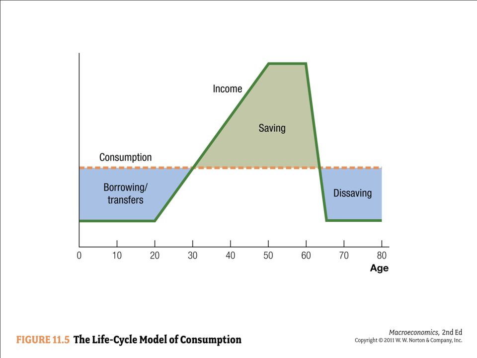 According to the life-cycle model, consumption is much smoother than income over one's lifetime.