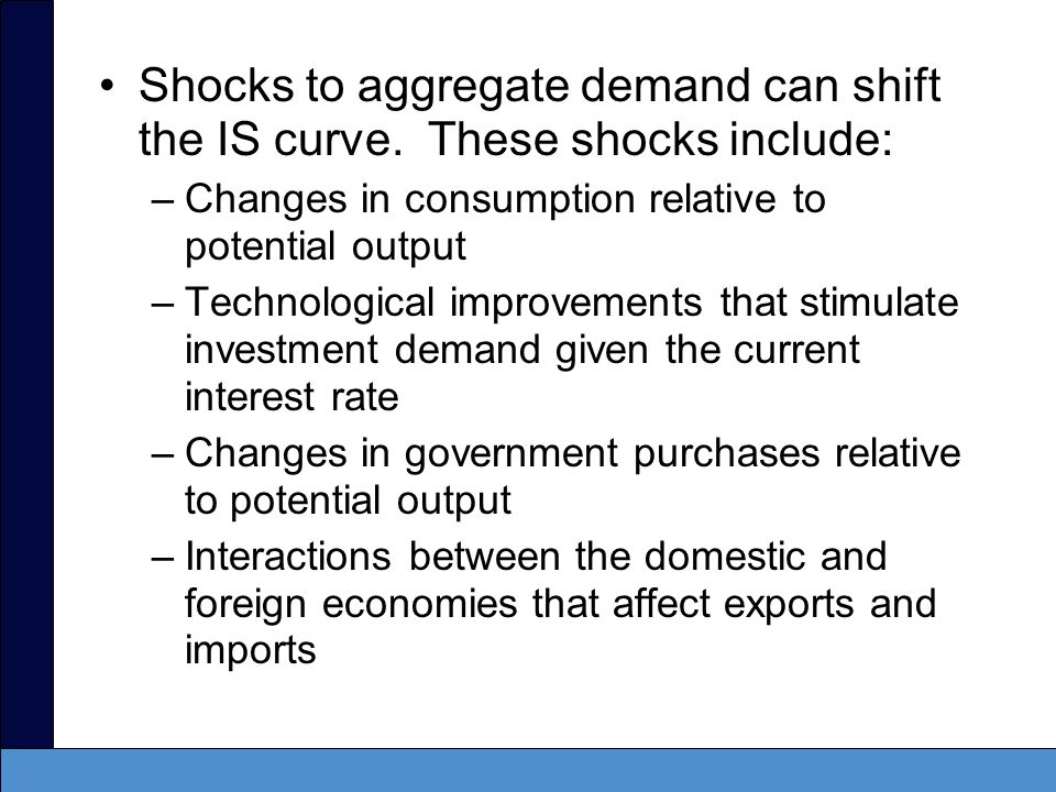 Shocks to aggregate demand can shift the IS curve