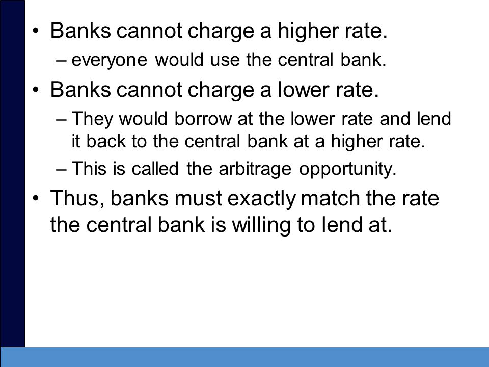 Banks cannot charge a higher rate. Banks cannot charge a lower rate.