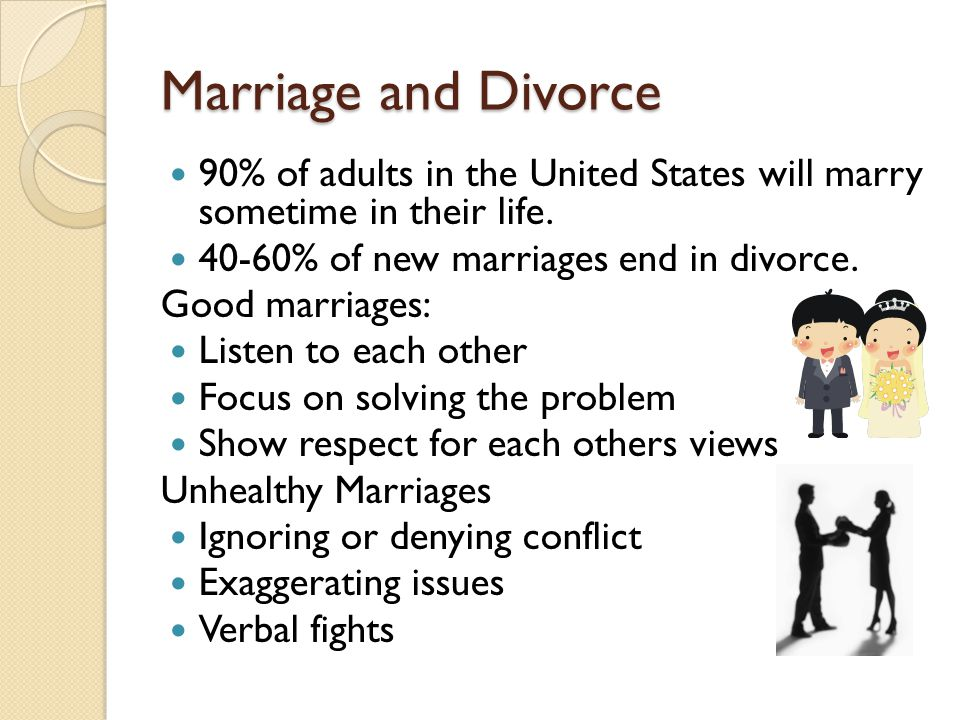 Marriage and Divorce 90% of adults in the United States will marry sometime in their life. 40-60% of new marriages end in divorce.